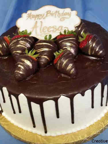 Food 01 Chocolate Covered Strawberry Drip Birthday Cake