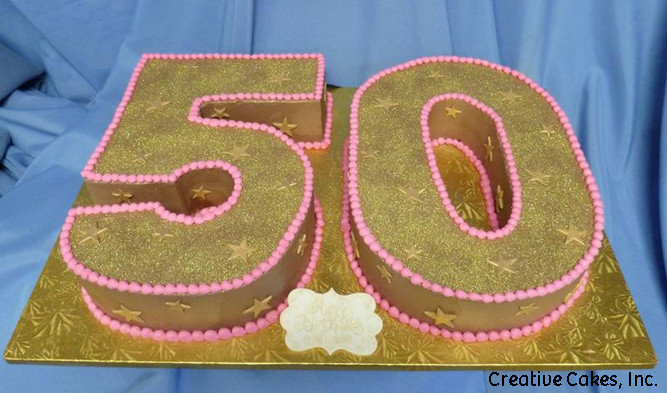 Numbers 24 Chocolate Sparkly Cut Out 50th Birthday Cake