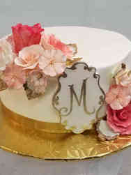 Floral 15 Pink and Gold Monogram Birthday Cake