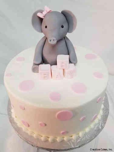 Girls 06 Elephant and Blocks Baby Shower Cake