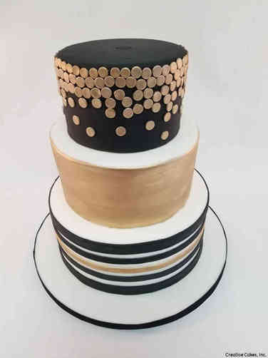 Elegant 32 Black and Gold Stripes and Dots Wedding Cake
