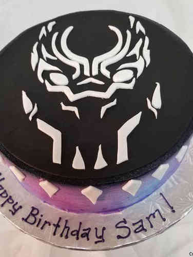 Pop 13 Minimalist Black Panther Birthday Cake