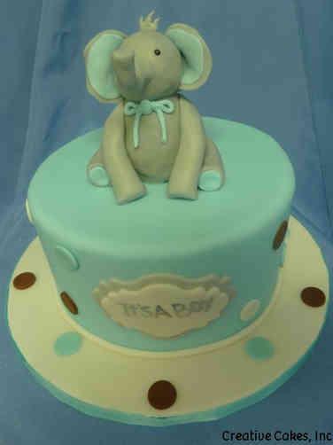 Boys 21 Mr. Elephant Baby Shower Cake