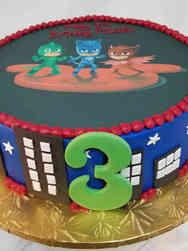 Superheroes 09 PJ Masks Skyline Birthday Cake