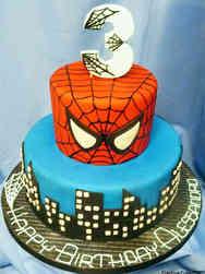 Superheroes 01 Skyline and Spiderman Birthday Cake