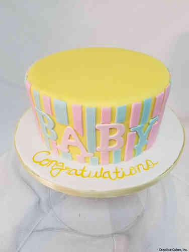 Neutral 47 Classic Stripes Baby Shower Cake