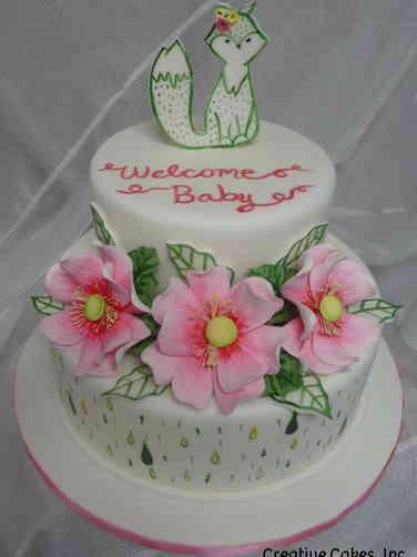 Girls 20 Painted Fox Baby Shower Cake