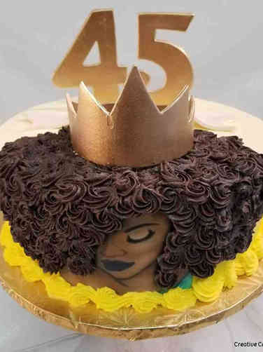 Numbers 19 Natural Hair and Crows 45th Birthday Cake