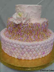 Unique 14 Pink Textured and Braided Wedding Cake