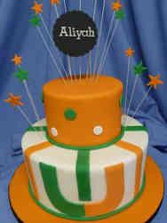 College 27 Green and Orange College Graduation Cake