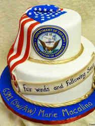 Military 22 Navy Emblem and Flag Drape Military Promotion Cake