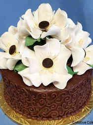 Floral 02 Chocolate Magnolias Birthday Cake