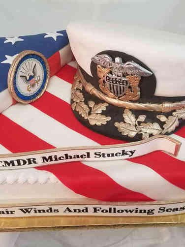 Military 29 Cover and Flag US Navy Promotion Cake