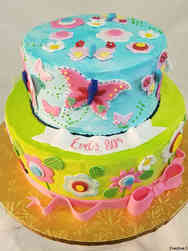 Floral 42  Cheerful Flowers and Butterflies Birthday Cake