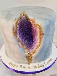Unique 59 Amethyst Geode Birthday Cake