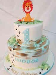 Neutral 07 Lion Jungle First Birthday Cake