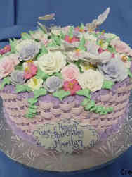 Floral 33 Pink and Purple Basket Weave Birthday Cake