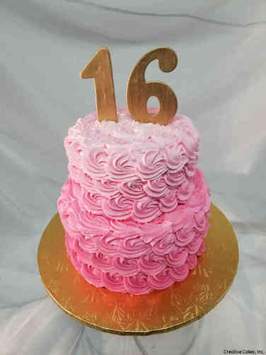 Classic 31 Pink Ombre Sweet 16 Birthday Cake