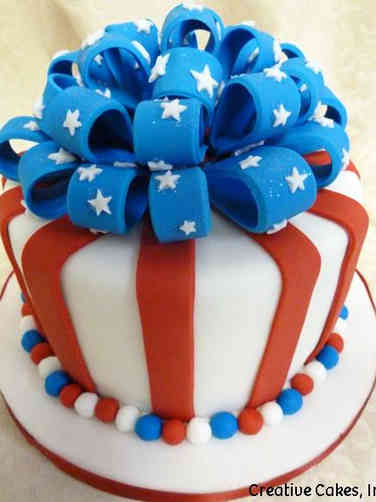 Summer 04 Patriotic Bow 4th of July Cake