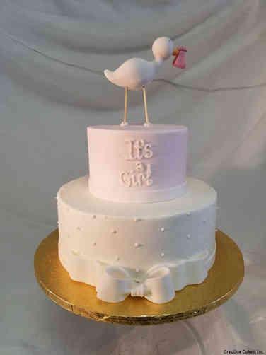 Girls 27 Sweet Stork Baby Shower Cake