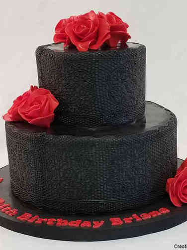 Feminine 53 Black and Red Lace and Roses Birthday Cake