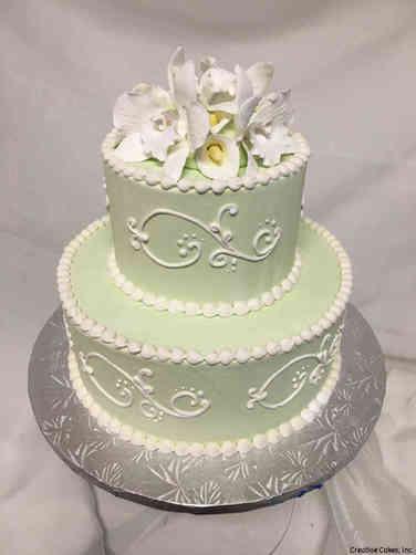 Floral 13 Mint Green Allure Scroll Wedding Shower Cake