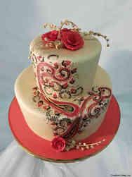 Elegant 28 Hand Painted Henna Wedding Cake