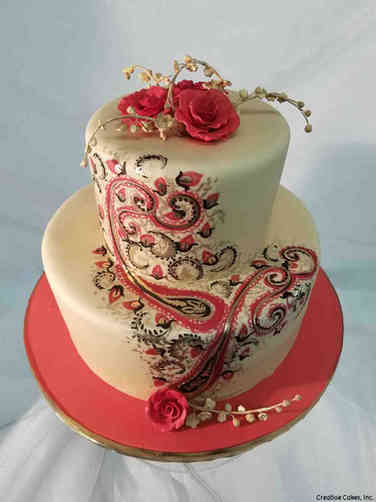Elegant 28 Hand Painted Henna Wedding Cake