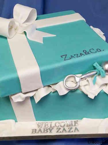 Neutral 04 Tiffany Box Baby Shower Cake