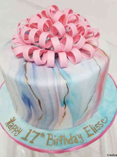 Feminine 11 Bow and Rainbow Marble Birthday Cake
