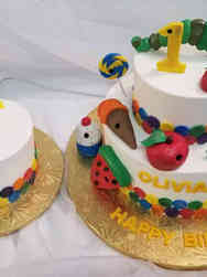 Neutral 16 Very Hungry Caterpillar Matching Pair First Birthday Cake