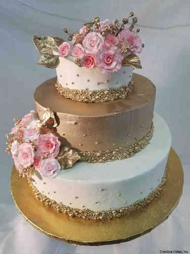 Floral 50 Pink and Rose Gold Buttercream Wedding Cake