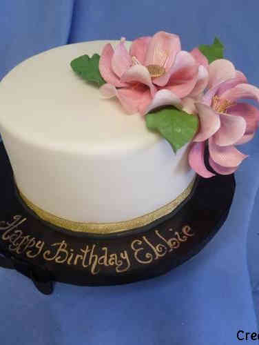 Floral 30 Minimalist Magnolias Birthday Cake