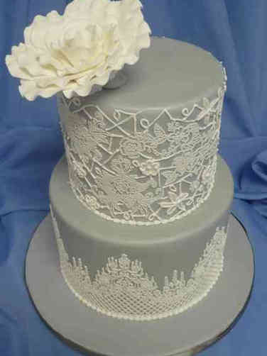 Trendy 14 Grey Lace Wedding Cake