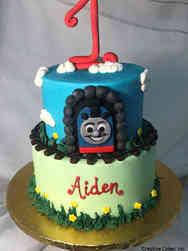 Boys 16 Thomas the Train First Birthday Cake