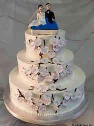 Unique 37 Cherry Blossom Paddle Boat Wedding Cake