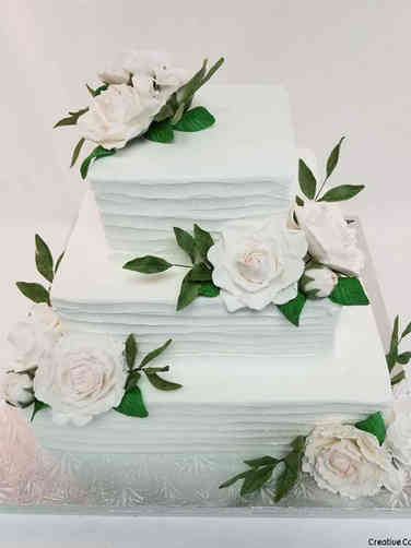 Floral 54 Blush Handmade Roses Square Wedding Cake