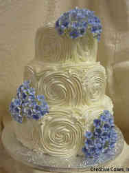 Floral 28 Hydrangeas and Rosettes Wedding Cake