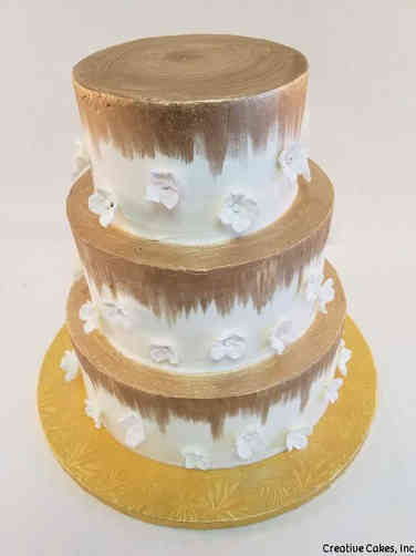 Elegant 33 Gold Ombre and Delicate Flowers 50th Anniversary Cake