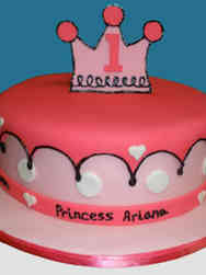 Girls 20 Cartoon Princess First Birthday Cake