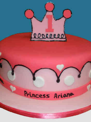 Girls 20 Cartoon Princess First Birthday Cake