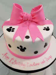 Girls 31 Pink and Paws First Birthday Cake