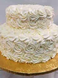 Trendy 07 White Rosettes Wedding Cake