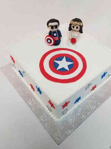 Unique 19 Captain America and Wonder Woman Bridal Shower Cake