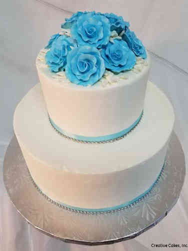 Simple 01 Blue Roses Wedding Cake