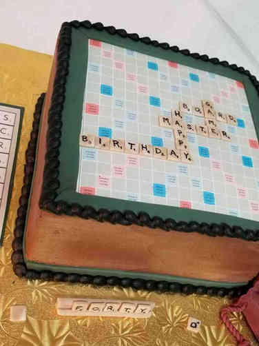 Sports 08 Scrabble Board Birthday Cake