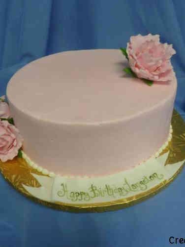 Floral 32  Minimalist Pink Peony Birthday Cake