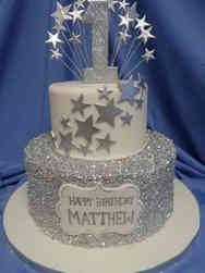 Neutral 21 Silver Stars First Birthday Cake