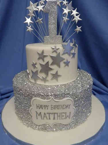 Neutral 21 Silver Stars First Birthday Cake