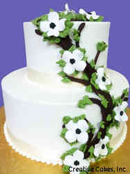 Floral 48 Piped Dogwood Branches Wedding Cake